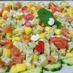 Coeur de filet de saumon artichaut mangue