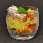 Vérrine de semoule épicée aux légumes et fruits secs