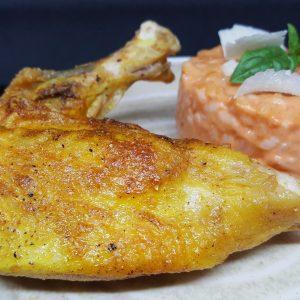 suprême de pintade et son risotto tomate basilic du traiteur Richard Blanc Goodee SQY à Voisins le Bretonneux