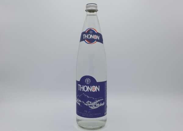 Bouteille d'eau minérale plate en verre 1 litre Thonon