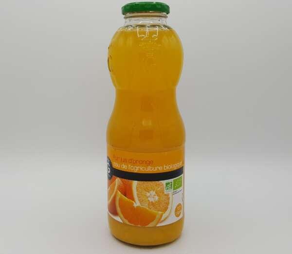 Bouteille en verre de pur jus d'orange bio gilbert 1 litre