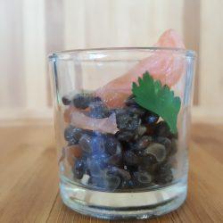 Mini verrine de lentille beluga au saumon fumé