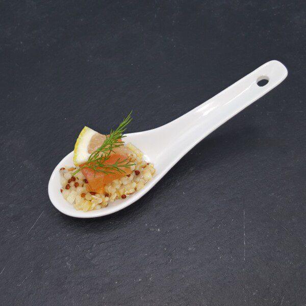 Mini cuillère gourmande de coeur de filet de saumon fumé légumes et agrumes du traiteur Goodee SQY