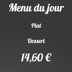 Menu plat dessert