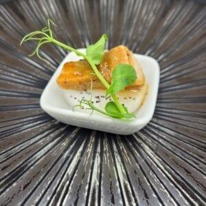 Mini cassolette de saumon sauce soja sucré sur son palet végétal