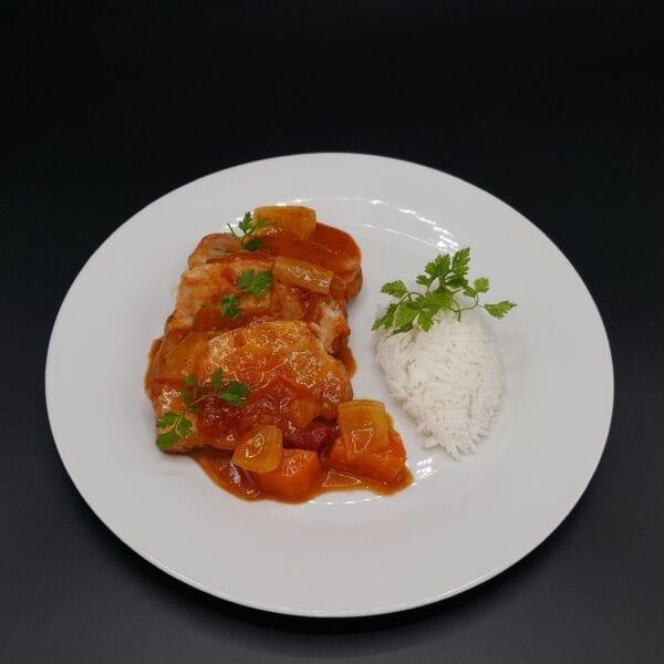 Rôti de porc à la tomate riz basmati du traiteur Goodee SQY à Voisins le Bretonneux